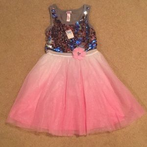 Justice Girl's Dip Tulle Sequins Dress Pink Silver
